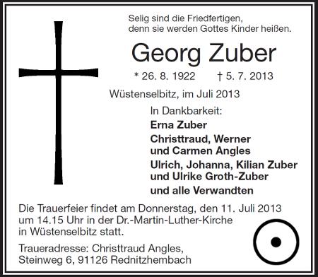 georg zuber (gorch) verstorben - einladung zur trauerfeier, Einladung